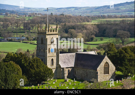 View over church & landscape beyond town of Montgomery Powys Mid-Wales UK - Stock Photo