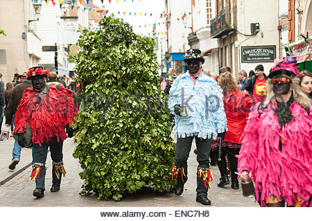 Rochester, Kent, UK. 2nd May 2015. Rochester Sweeps Festival 2015. Jack-In-The-Green, musicians and Morris Men celebrate - Stock Photo