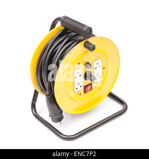 yellow extension cable reel on white - Stock Photo