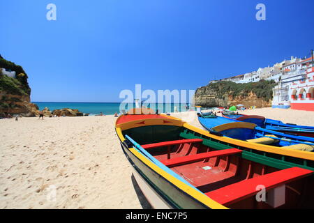 The beautiful beach at Carvoeiro on the Algarve in Portugal. - Stock Photo