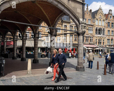 View of The Market Place (Grote Markt) in Ypres, Flanders - Stock Photo