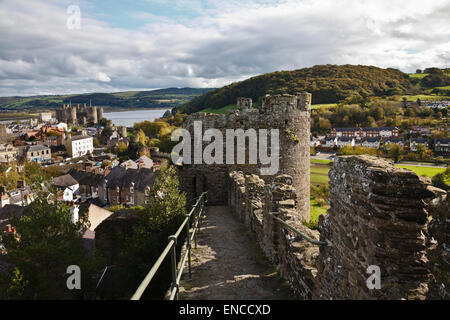 View from the town walls, Conwy, Wales - Stock Photo