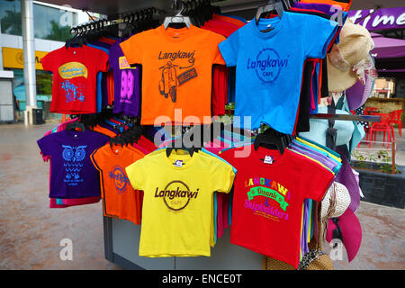 Souvenir T Shirts on sale in Pantai Cenang, Langkawi, Malaysia - Stock Photo