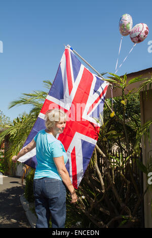 Santa Ana, California, USA. 2nd May, 2015. British Expat  decorates her house in celebration of the birth of the - Stock Photo
