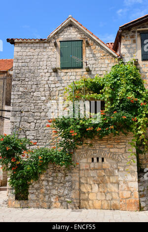 Stari Grad on Hvar Island on Dalmatian Coast of Croatia - Stock Photo