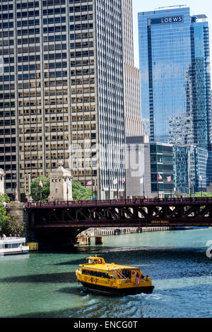 Chicago Illinois Michigan-Wacker Historic District Chicago River skyline boat water taxi Michigan Avenue Bridge - Stock Photo