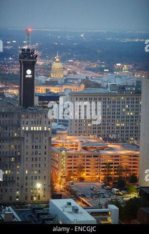 `Downtown Atlanta in Georga USA high view  looking at (Gold Dome)  The Georgia State Capitol, in Atlanta, Georgia, - Stock Photo