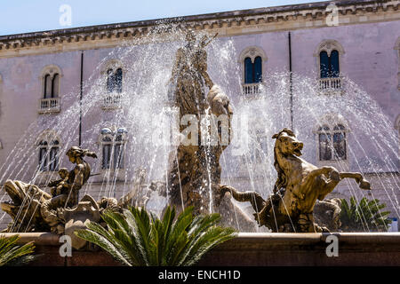 View of the fountain of Diana in Syracuse - Stock Photo