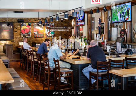 Chicago Illinois River North urban neighborhood Grand Avenue Rock Bottom Restaurant and Brewery restaurant dining - Stock Photo