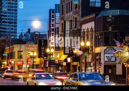 Chicago Illinois Gold Coast Historic District Division Street neighborhood night nightlife bar Detention Nightclub - Stock Photo