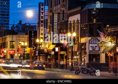 Chicago Illinois Gold Coast Historic District Division Street neighborhood nightlife night bar Detention Nightclub - Stock Photo
