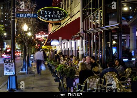 Chicago Illinois Gold Coast Historic District neighborhood nightlife night business dining Tavern On Rush restaurant - Stock Photo