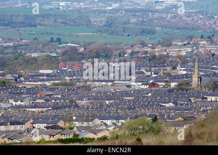 View over Accrington in Lancashire - Stock Photo