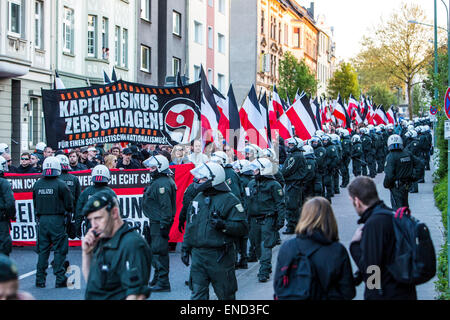 Demonstration of right wing Neo-Nazi party 'Die Rechte', a first of May, in Essen, Germany, - Stock Photo