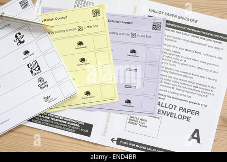 UK election postal voting ballot papers - Stock Photo