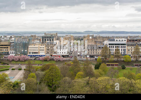 Edinburgh - Spring view of Princes Street, Princes Street Gardens, Frederick Street and the Firth of Forth and Fife - Stock Photo