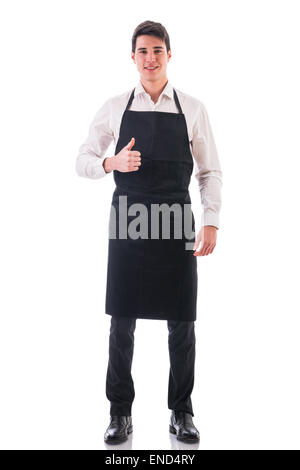 Full length shot of young chef or waiter posing isolated - Stock Photo