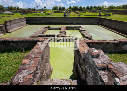 Ruins of royal pond at Surosowan palace, Old Banten, Java, Indonesia. - Stock Photo