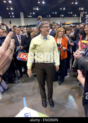 Omaha, USA. 2nd May, 2015. Microsoft founder Bill Gates attends the annual shareholder's meeting of investment company - Stock Photo
