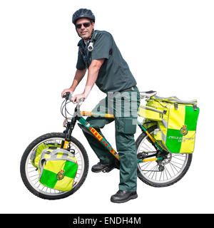 A cut out of a Wiltshire NHS trust paramedic on a Cycle Response Unit - Stock Photo
