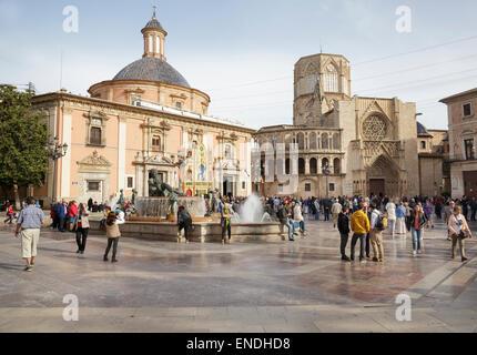 Plaza de la Virgen with the Cathedral and The Basilica de Virgen de Los Desamparados, Valencia, Spain - Stock Photo