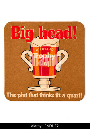Vintage British Beer Mat advertising Whitbread Trophy Beer - Stock Photo