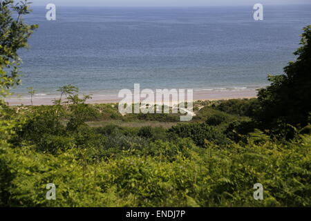Omaha Beach D-Day WW2 - view from high on Omaha Cemetary, Colleville Sur Mer, Normandy, France - Stock Photo