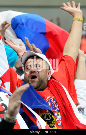 Prague, Czech Republic. 2nd May, 2015. Czech fans during the Ice Hockey World Championship Group A match Czech Republic - Stock Photo