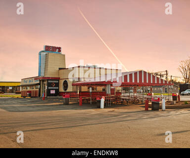 Liverpool , New York. USA. May 2, 2015. Locally famous Heid's Hot dog and Coney's Restaurant located in the village - Stock Photo