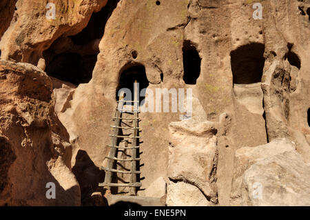 Cliff Dwellings at the Bandelier National Monument, Los Alamos, New Mexico. - Stock Photo