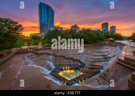 The Fort Worth Water Gardens, built in 1974, is located on the south end of downtown Fort Worth, Texas - Stock Photo