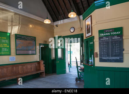 The booking hall at Corfe Castle railway station on the restored Swanage steam line - Stock Photo
