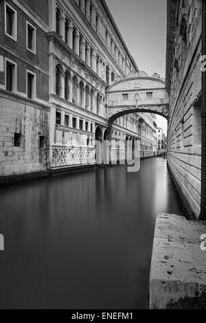Venice. Black and white image of the famous Bridge of Sighs in Venice, Italy. - Stock Photo