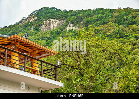Terrace on house roof with view on mountains in South Korea - Stock Photo