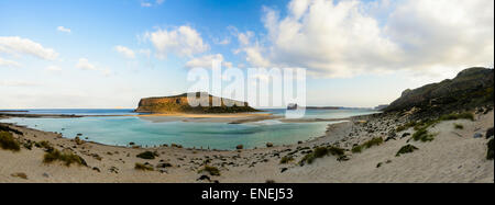 The tropical beach of Balos in the west end of Crete island, Greece - Stock Photo