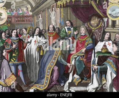 Philip V of Spain (1683-1746). King of Spain. House of Bourbon. Oath of allegiance of the military orders; Golden - Stock Photo