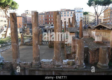 Italy. Rome. The Sacred area of Largo di Torre Argentina. Ruins of Republican Roman temples. Ancient Campus Martius. - Stock Photo