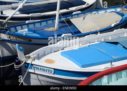 Colourful Wooden Fishing Boats, known as Pointus, in the Old Port, Harbor or Marina at La Ciotat Provence France - Stock Photo