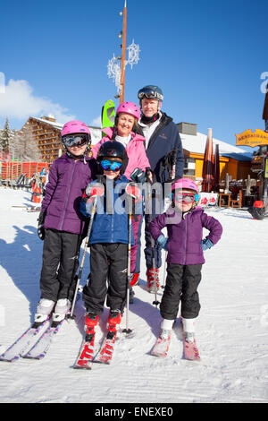 Family in the French Alps on holiday - Stock Photo