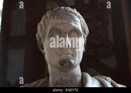 Nerva (30-98AD). Roman Emperor from 96-98. Nervan-Antonine dynasty. Bust. National Roman Museum. Palazzo Altemps. - Stock Photo