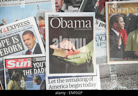British newspapers following the inauguration of President Barack Obama on 20th January 2009. - Stock Photo