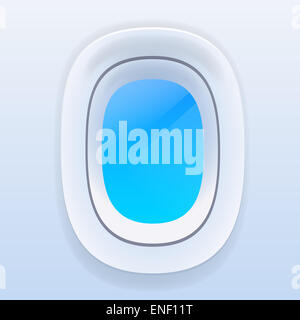 Aircraft Windows with Blue Sky, Airplane Vector - Stock Photo
