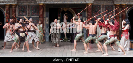A 'Haka' is performed during the play Troilus & Cressida on Shakespeare's birthday by New Zealand's Ngakau Toa theatre - Stock Photo