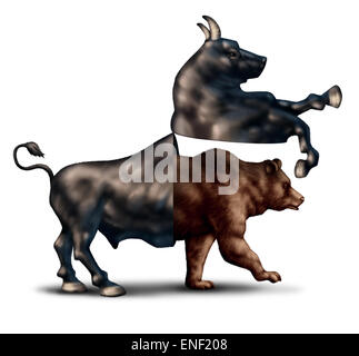 Bear market correction financial business concept as a bull opening up and revealing an emerging bearish stock market - Stock Photo