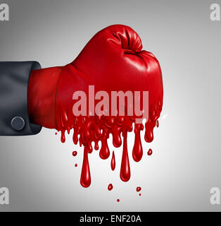 Business pressure and work burnout as a businessperson wearing a red boxing glove that is melting after feeling - Stock Photo