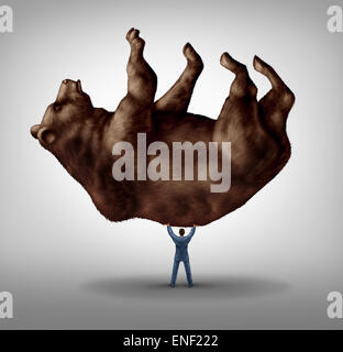 Selling stock and investing pessimism and financial business leadership as a downturn fear concept as a take charge - Stock Photo