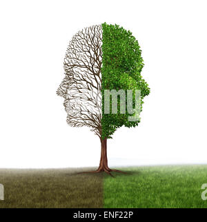 Human emotion and mood disorder as a tree shaped as two human faces with one half empty branches and the opposite - Stock Photo
