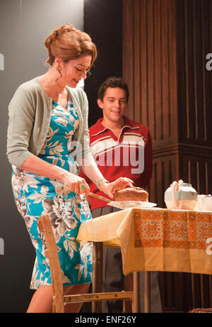 Anna Chancellor as Belinda Duffield and Jonathan Bailey as Jeremy Duffield. Actors Anna Chancellor and  Nicholas - Stock Photo