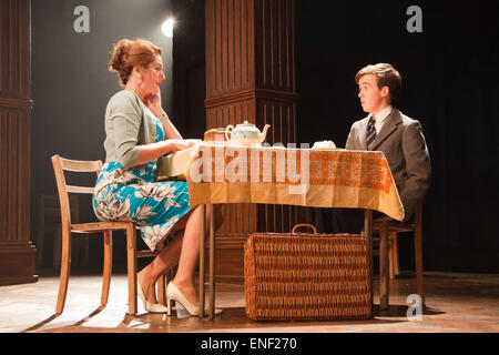 Anna Chancellor as Belinda Duffield and Alex Lawther as John Blakemore. Actors Anna Chancellor and  Nicholas Farrell - Stock Photo