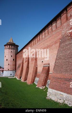 Kolomna Kremlin in Moscow region. Kremlin Wall and Marinkin (Kolomna) tower. Russia - Stock Photo